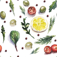 Watercolor food and vegetables pattern with lemon, tomatoes, olives and salad herbs