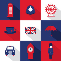 A set of nine flat design long shadow icons with London symbols