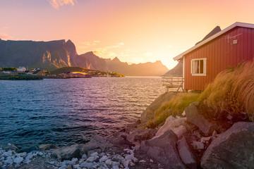 Village on Lofoten islands in Norway, Europe