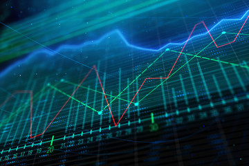 Glowing forex chart background