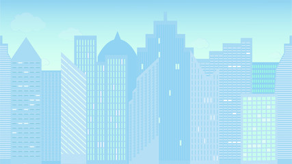 Horizontally seamless vector illustration of cityscape. Morning. Colorful. Panoramic view.