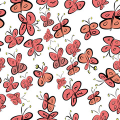 Seamless butterfly illustrations background abstract, hand drawn. Underwater, decoration, concept & cartoon.