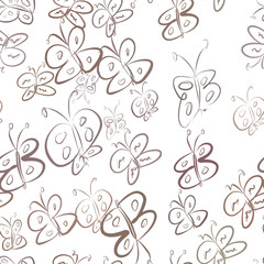 Seamless abstract butterfly illustrations background. Messy, cartoon, shape & repeat.