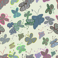 Seamless abstract illustrations of butterfly, conceptual. Drawing, set, canvas & line.