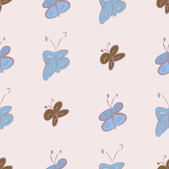 Seamless butterfly illustrations background abstract, hand drawn. Set, pattern, texture & art.