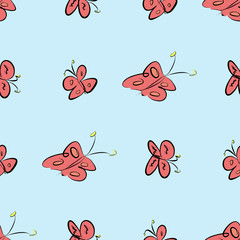 Seamless abstract butterfly illustrations background. Sketch, graphic, surface & digital.