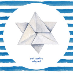 Watercolor hand painted seamless origami illustration with star on white background with blue stripes