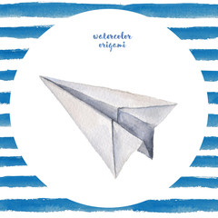 Watercolor hand painted seamless origami illustration with paper airplane on white background with blue stripes