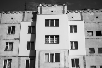 Soviet style building in sunset light