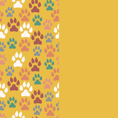 Card with dog track seamless pattern and empty space. Vector illustration.