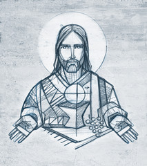 Jesus Christ and Eucharist illustration