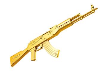 Golden assault rifle, 3D rendering