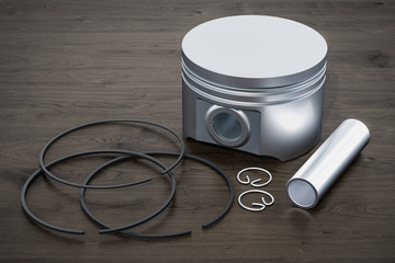 Parts of engine piston on the wooden table, 3D rendering