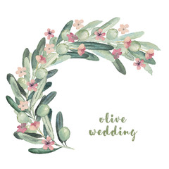 Watercolor illustration with olives and flowers sprig branch