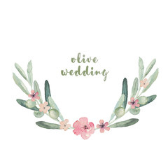 Watercolor floral illustration with wreath of olives and flowers