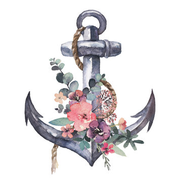 Watercolor hand drawn nautical / marine / floral illustration with anchor, rope and flower bouquet arrangement