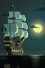 Lonely pirate ship on a night open sea