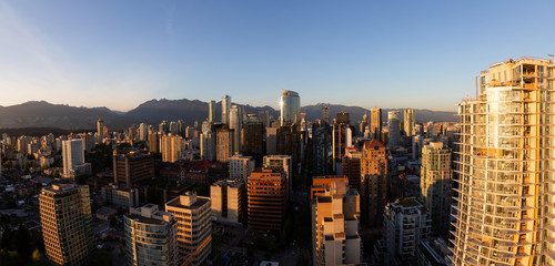 Vancouver, British Columbia, Canada - May 11, 2018: Aerial Panorama of the beautiful modern city during a vibrant sunset.