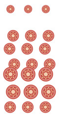 composition of bright red plastic of chopped tomato mid center of sunflower bright stripes of vertical isolated on white background vegetables salad ingredients drawing object vector