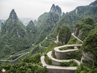 A view of the dangerous  99 curves at the Tongtian Road to Tianmen Mountain, The Heaven's Gate at Zhangjiagie, Hunan Province, China, Asia
