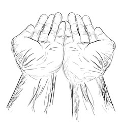 simple hand draw sketch praying hand