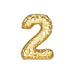 Alphabet number 2. Gold font made of yellow cellular framework. 3D render isolated on white background.
