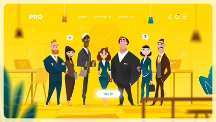 Main Page Web Design with Business Cartoon Characters