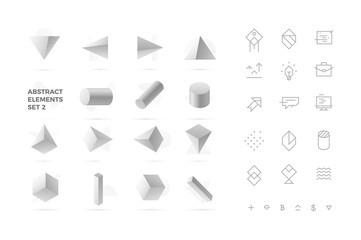 Abstract Realistic 3D Objects and Icons