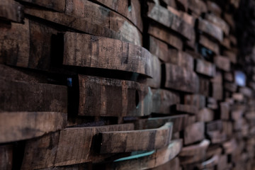Fototapete - Narrow Focus of Bourbon Barrels on Wall