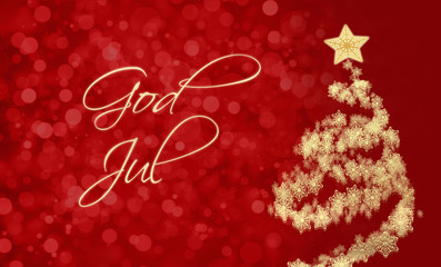 """Merry Christmas card with greeting in Swedish or Norwegian: """"God Jul"""""""