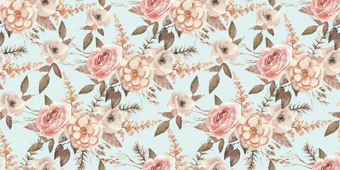 Papiers peints Fleurs Vintage Seamless watercolor floral pattern with flower composition on blue background, perfect for wrappers, wallpapers, postcards, greeting cards, wedding invitations, romantic events, etc.
