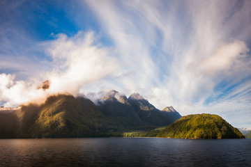 Glorious Light early in the Morning at Lake Manapouri in Fiordland National Park, New Zealand