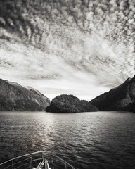 Adventure Cruise at Doubtful Sound in black and white -Fiordland National Park, New Zealand