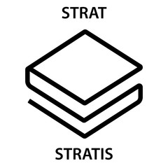 Stratis Coin cryptocurrency blockchain icon. Virtual electronic, internet money or cryptocoin symbol, logo