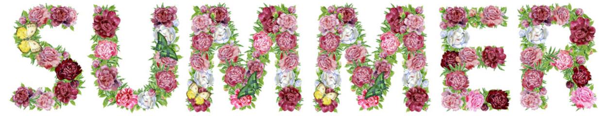 Word SUMMER of watercolor flowers