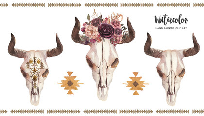 Watercolor boho floral illustration set - bull / cow skulls with horns & flower bouquet, arrangement for wedding, anniversary, birthday, invitations, tribal native american symbol, bohemian DIY indian