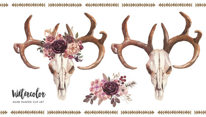 Watercolor boho floral illustration set - bull/cow skulls with antlers & flower bouquet, arrangement for wedding, anniversary, birthday, invitations, tribal native american symbol, bohemian DIY indian