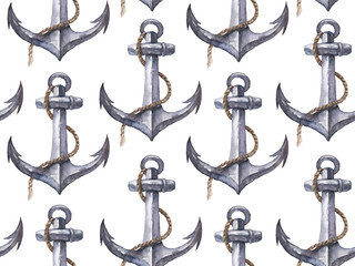 Seamless watercolor nautical pattern with anchor on white background, perfect for wrappers, wallpapers, postcards, greeting cards, wedding invitations, romantic events, etc.
