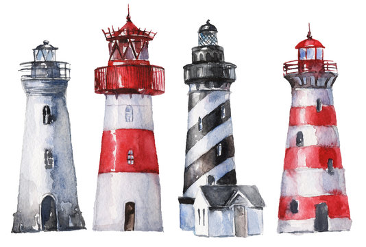 Watercolor hand drawn lighthouses  - nautical elements