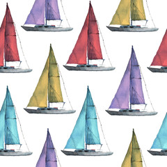 Seamless watercolor nautical pattern with various boats on white background, perfect for wrappers, wallpapers, postcards, greetings, wedding invitations, romantic events.