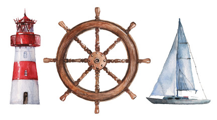 Watercolor hand drawn nautical / marine illustration with lighthouse, steering wheel and boat