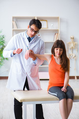 Doctor neurologist examining female patient