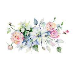 Gentle bouquet flower. Floral botanical flower. Wild spring leaf wildflower isolated. Aquarelle wildflower for background, texture, wrapper pattern, frame or border.