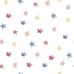 Seamless watercolor floral pattern with small isolated flowers on white background, perfect for wrappers, wallpapers, postcards, greeting cards, wedding invitations, romantic events, etc.