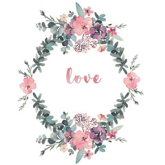 Watercolor floral illustration with wreath-shaped flower collage