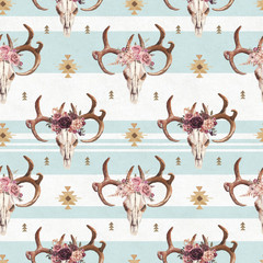 Watercolor boho seamless pattern of deer skull with antlers & floral arrangement on bright blue background. Native american decor, print element, tribal bohemian navajo, Indian, Peru, Aztec wrapping