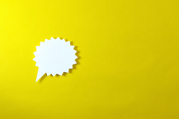 spiny text bubble on yellow background