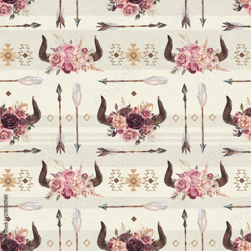 Watercolor boho seamless pattern of arrows, horns, ornaments