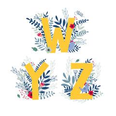 Floral alphabet, letter w, y, z set