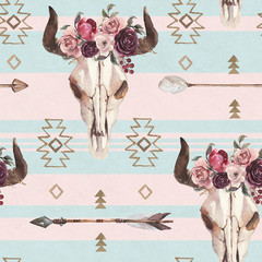 Watercolor boho seamless pattern of arrows, bull skull with horns & floral arrangement on pink blue background. Native american decor, print element, tribal bohemian navajo, Indian Peru Aztec wrapping